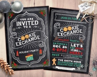 Holiday Cookie Exchange Invitation // Cookie Swap Invite // Cookie Decorating // Chalkboard // Christmas Printable // Holiday Party