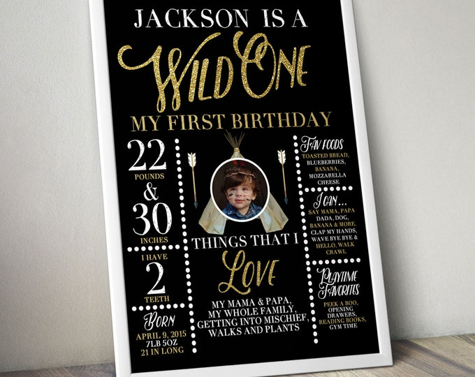 Wild one, photo prop, sign, TEEPEE Birthday Invitation, invitation, Aztec, arrow, pow wow, BOHO, Tribal, first birthday, 1st birthday, Gold