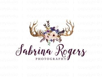 Boho flowers logo premade logo design photography logo small business logo watercolour logo graphic design
