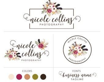 Premade logo package flower logo photography logo floral logo photographer logo boutique logo marketing kit elegant logo