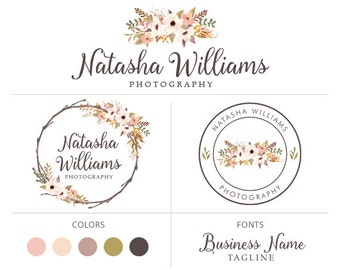 Wreath floral logo flower logo design branding package bohemian logo premade logo package photography logo graphic design