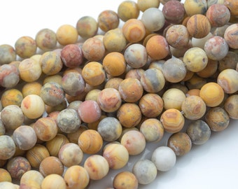 """LARGE-HOLE beads!!! 8mm or 10mm matt-finished round. 2mm hole. 8"""" strands. Mexican Crazy Lace Agate."""