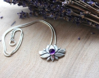 Silver Lotus Flower Necklace with Amethyst Crystal