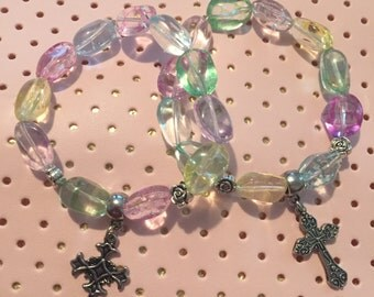 Pastel Cross Charm Bracelet