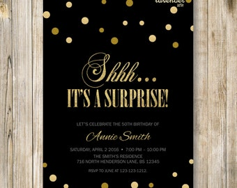 Surprise Birthday Party Invitation, Shhh It's A Surprise, Classic Gold Glitters Birthday Invite, Woman Man Fabulous Any Age, Diy Printable