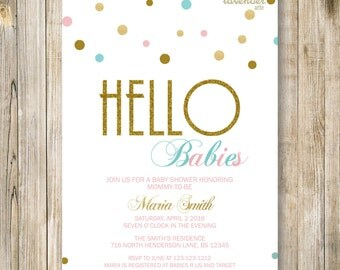 TWINS SHOWER INVITATION, Hello Babies, Gold Blue Pink Twin Baby Shower Invite, Neutral Baby Sprinkle, Twin Boy and Girl, Printable Digital