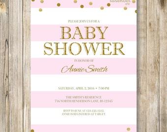 PINK GOLD NAUTICAL Baby Shower Invitation, Nautical Pink White Stripes, Gold Polka Dots Digital Invite, Sailor Baby Girl Shower Printables