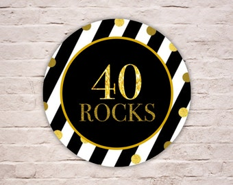 Digital 40 ROCKS Labels, Black and White Stripes Birthday Labels, FORTY ROCKS Gold Glitters Party Favor Tags, Envelope Seals, Diy Printable