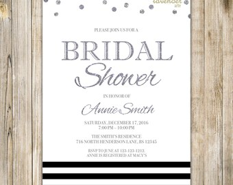 BLACK & SILVER Bridal Shower Invitation, Nautical Stripe Wedding Shower Invite, Modern Black Silver Gray Glitters Couples Shower Printables