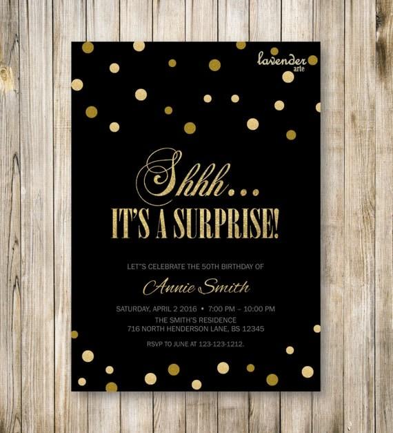 Surprise Birthday Party Invitation Shhh It's A Surprise