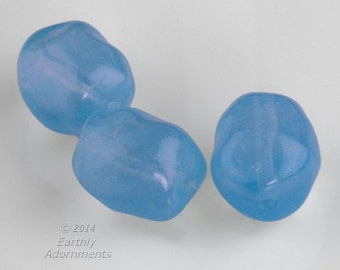 Vintage translucent blue glass nugget beads. 12x10mm. Package of 6. b11-bl-2109(e)