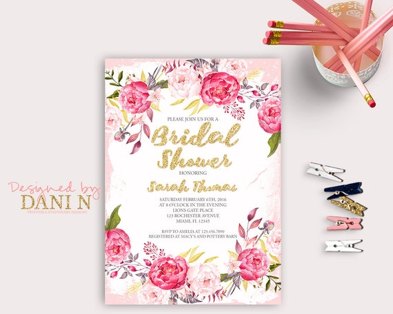 Day After Wedding Brunch Invitation: Pink Roses Bridal Shower Invitation, Floral Party Invite