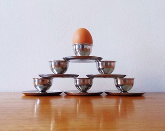 Set (6) Polaris Norway Stainless Steel Egg Cups