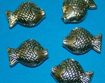 Bali Style Large Pewter Fish 22 x 16 mm 5  beads
