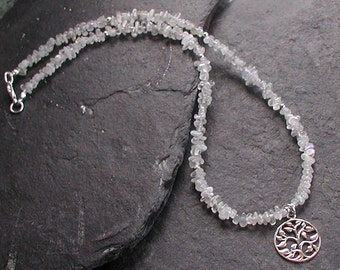 Moonstone Gemstone Necklace Sterling Silver Tree of Life Pendant