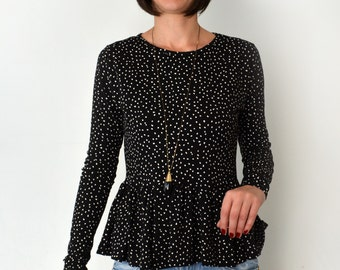 Peplum blouse with dots/ long sleeve black and white dots peplum blouse.