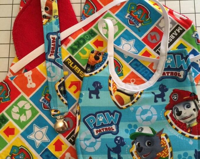 Baby Bib Paw Patrol Gift Set: Baby Bib, Burp Cloths, Pacifier Clip