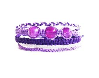 Gifts for Girls, Bracelet Stack Set of Five Bracelets, Beaded Stack Bracelets, Macrame Bracelet Best Friend Gift, Beaded Stacking Bracelets