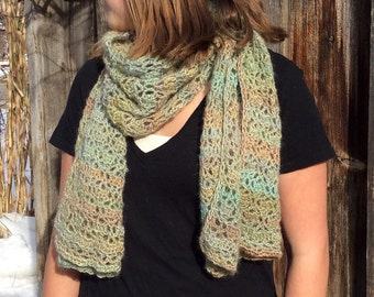 Meadow green crochet lace scarf wrap
