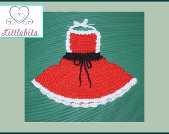 Littlebits Newborn Baby Crocheted Christmas Dress n Nappy/Diaper Cover -  Handcrafted & Sold in Australia