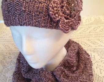 Checkboard Metallic Burnished Rose Gold Cowl and Hat, Infinity Girl Scarf and Beanie