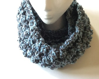Knitted Bubbles Infinity Steel Blue Scarf