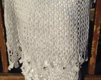 White Handmade scarf Summer shawls floral shawls wedding shawls