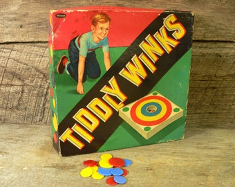 TIDDLY WINKS: Vintage Whitman Bulls Eye Tiddly Winks Game***3.50 Shipping***