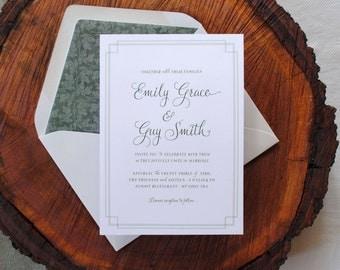 Print-It-Yourself Vintage Botanical Wedding Invitations, Custom Wedding Invitations -- Emily
