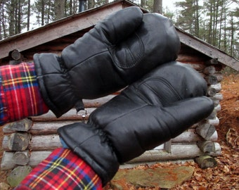Vintage Leather and Down Olympia Mittens. Small Mens/ Medium Womens