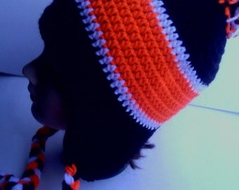 black,white and orange crocheted earflap hat
