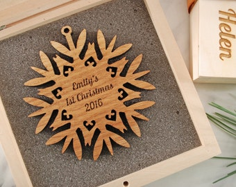 PERSONALIZED Solid Wood Snowflake Ornament, Wooden Gift Box, Ready to Gift for Christmas, Christmas gift, Housewarming gift,