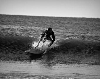 Black and White Surfer Print