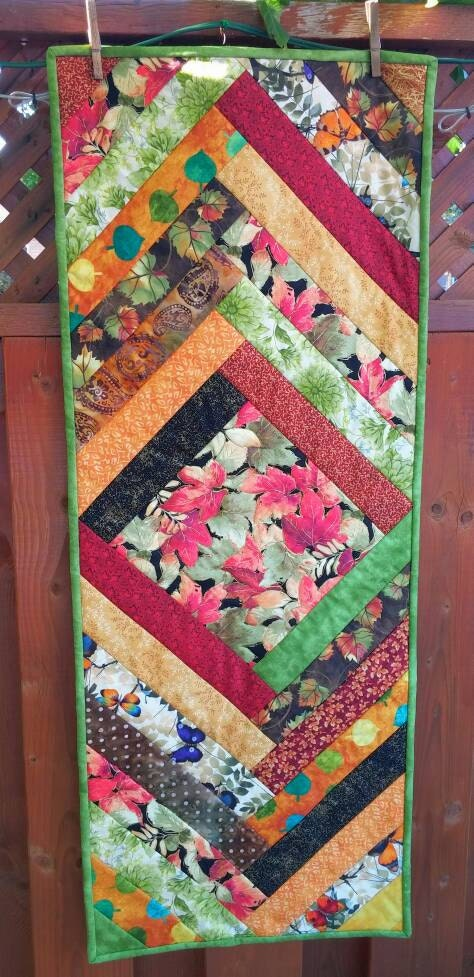 Thanksgiving Quilted Table Runner Patterns : Fall Quilted Table Runner Thanksgiving Runner by OhSherryQuilts