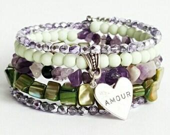 Green and purple wire wrap bracelet, Czech beads bracelet, boho ibiza hipster bracelet, charm bracelet, mothers day gift, christmas present.