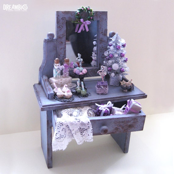 Christmas miniature , dollhouse dressing miniature, Nutcracker miniature, Purple Christmas