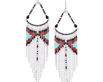 Chandelier Earrings, Turquoise Chandelier Earrings, Long Earrings, Multi Color Chandelier Earrings, Boho Earrings, Native American Inspired