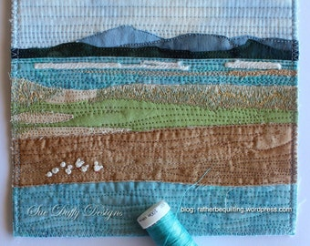 Seascape, beach art,  Ocean art, Textile art, Picture of the sea. Frame this small textile artwork to your taste.