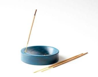 Incense holder blue shell