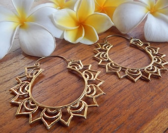 Brass Earrings, Lotus Earrings, Hoop Earrings, Bohemian Jewelry, Gypsy Jewelry, Ethnic Jewelry
