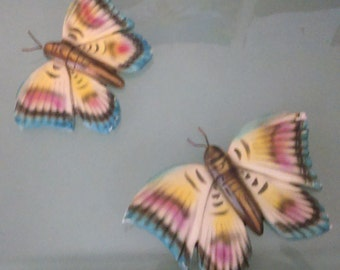 Pair Vintage Painted Chalkware Butterflies Wall Plaques