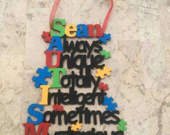 Hand Painted Wooden Sign Autism Awareness Plaque Wall Door Decoration