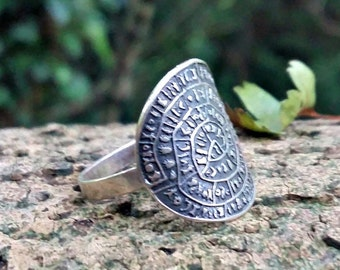 Free Shipping - Sterling 925 Silver Phaistos Disc Ring, Ancient Greece, Minoan, UK Size N, USA Size 7