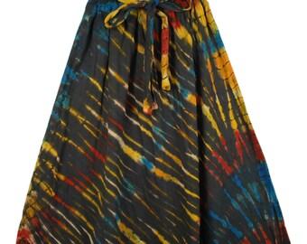 Streaked Tie Dye Hippie Skirt