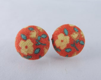 Orange floral fabric button earrings