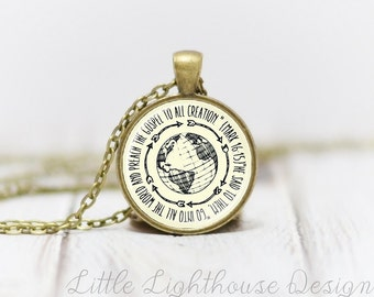 Medium Go Into All The World Pendant Necklace Regions 1 Necklace Christian Pendant Necklace Missionary Necklace Inspirational Gift