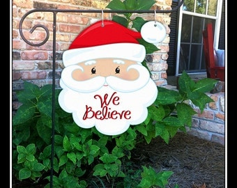 We Believe Christmas Yard Flag Christmas Yard Flag Christmas Garden Flag Santa Yard Flag Santa Garden Flag Santa Stop Here Personalized Flag