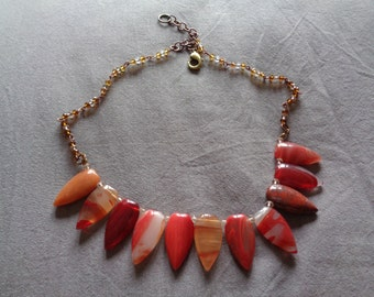Handmade Necklace Vintage Upcycled Stones