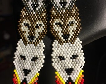 Three Wolves Totem Hand Braded Earrimgs