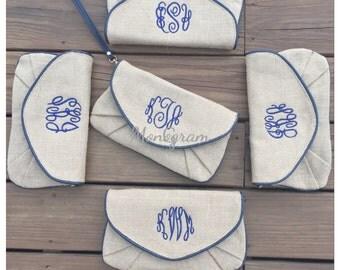 5 Monogrammed Clutch/ Monogrammed Burlap Clutch/ Monogrammed Bridesmaid Gift